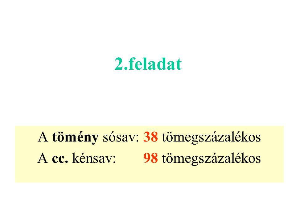 A tömény sósav: 38 tömegszázalékos A cc. kénsav: 98 tömegszázalékos