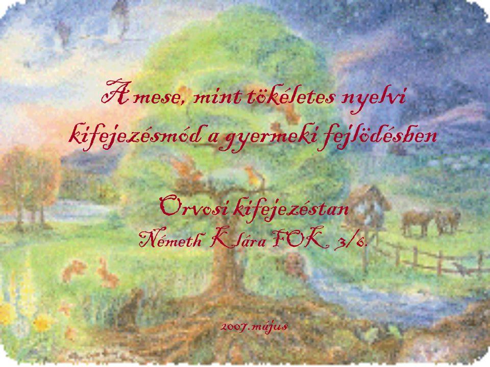 A mese, mint tökéletes nyelvi kifejezésmód a gyermeki fejlödésben Orvosi kifejezéstan Németh Klára FOK 3/6.