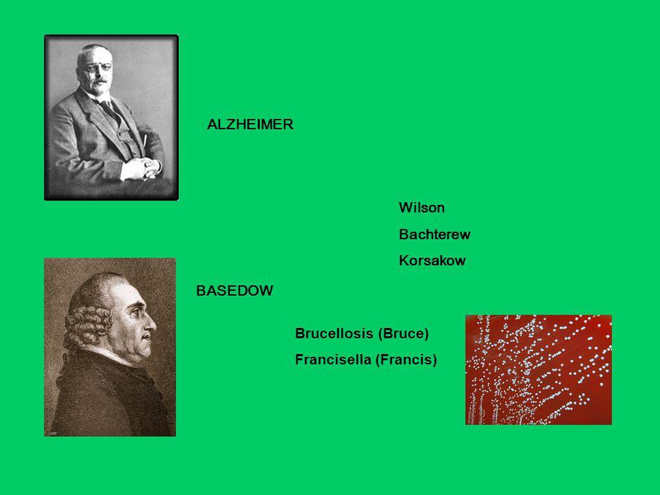 ALZHEIMER Wilson Bachterew Korsakow BASEDOW Brucellosis (Bruce) Francisella (Francis)