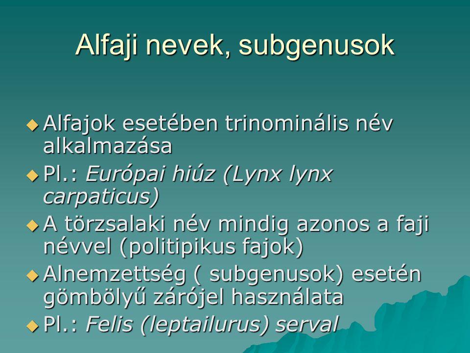 Alfaji nevek, subgenusok