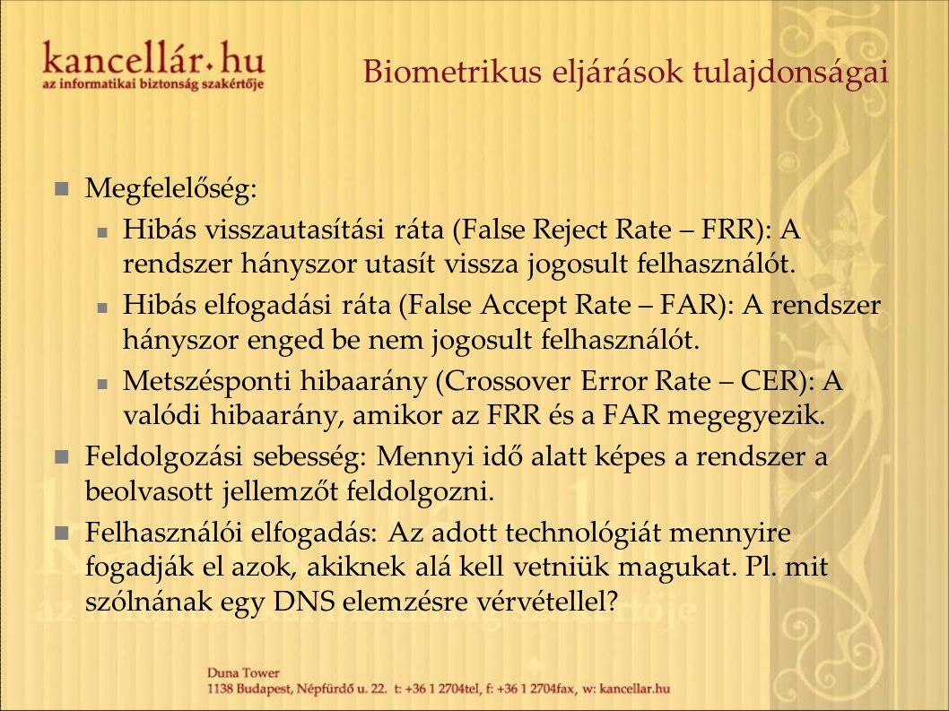 Biometrikus eljárások tulajdonságai