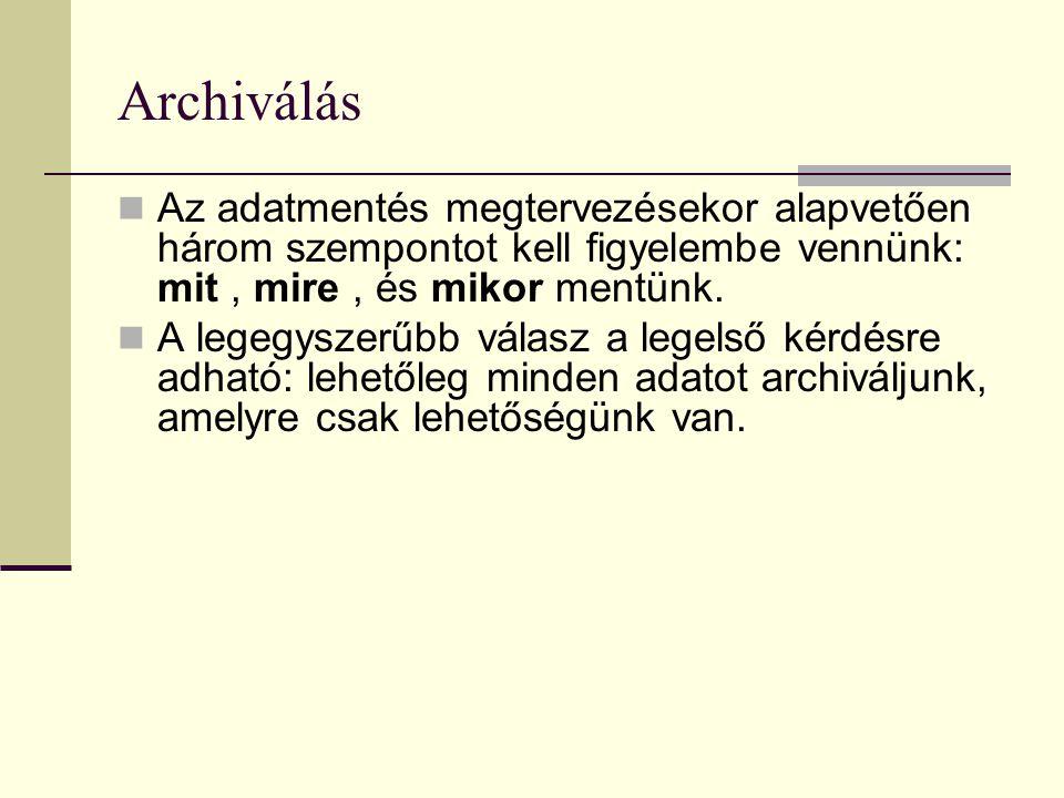 Archiválás Az adatmentés megtervezésekor alapvetően három szempontot kell figyelembe vennünk: mit , mire , és mikor mentünk.