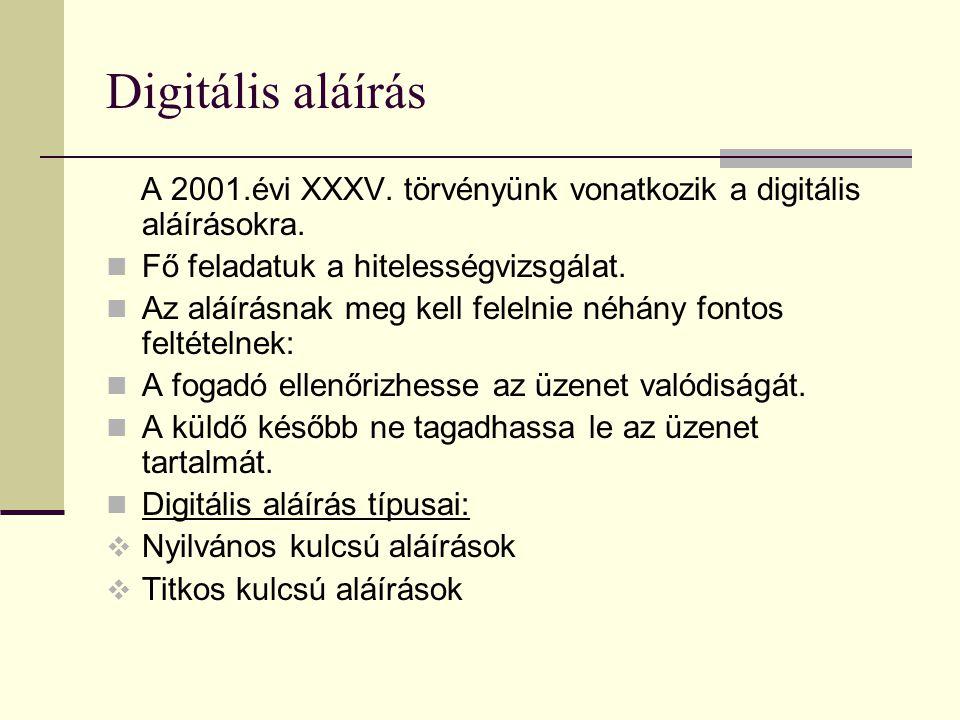 Digitális aláírás A 2001.évi XXXV. törvényünk vonatkozik a digitális aláírásokra. Fő feladatuk a hitelességvizsgálat.