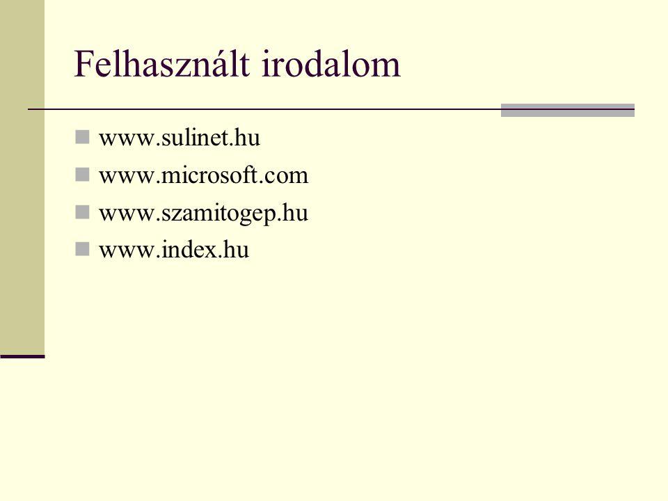 Felhasznált irodalom www.sulinet.hu www.microsoft.com