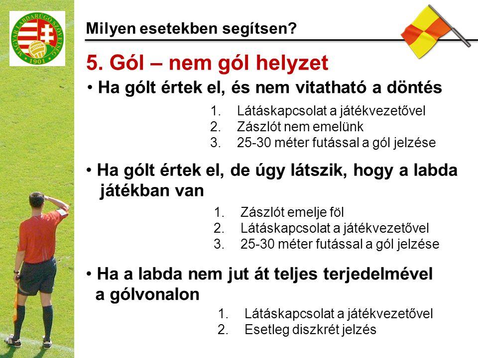 5. Gól – nem gól helyzet Ha gólt értek el, és nem vitatható a döntés