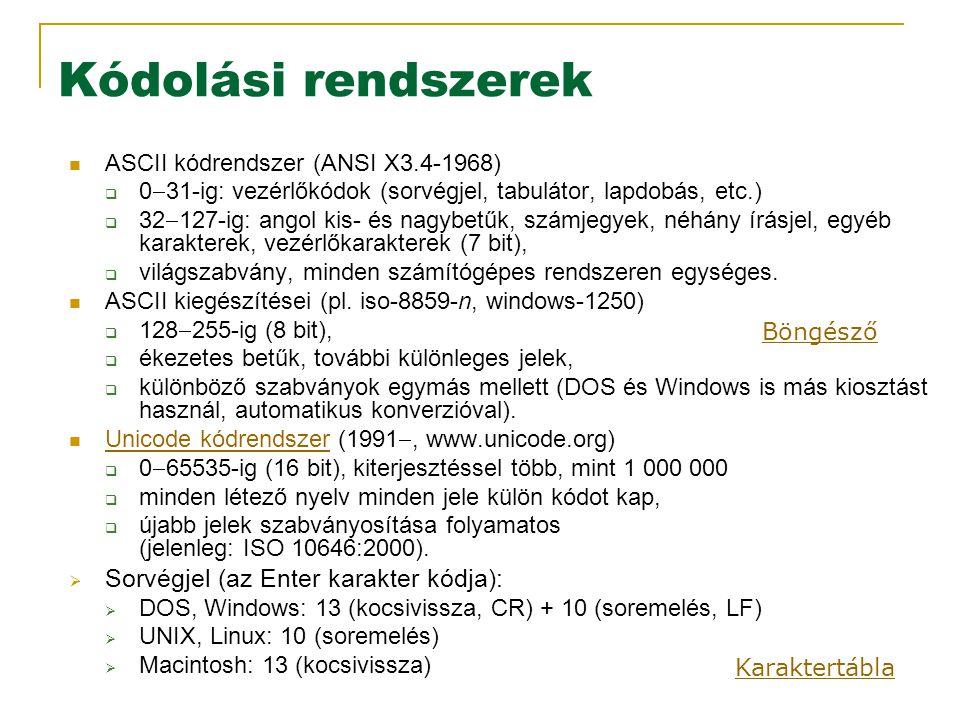 Kódolási rendszerek Sorvégjel (az Enter karakter kódja):
