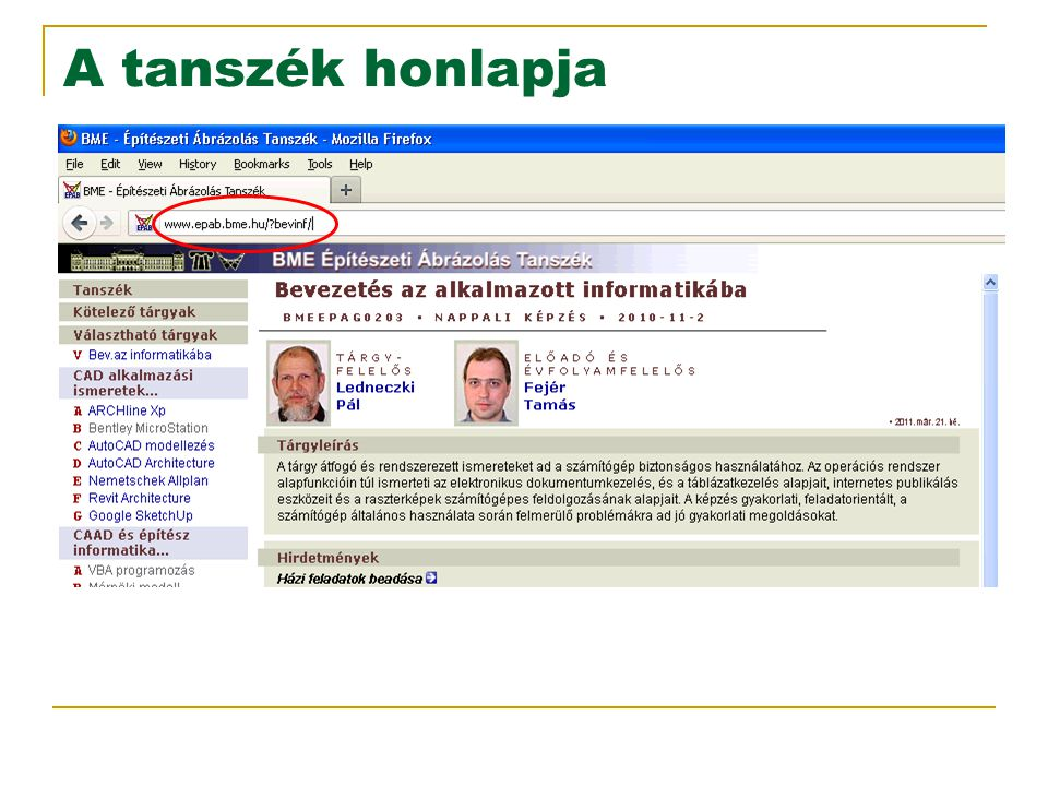 2017.04.05. A tanszék honlapja.