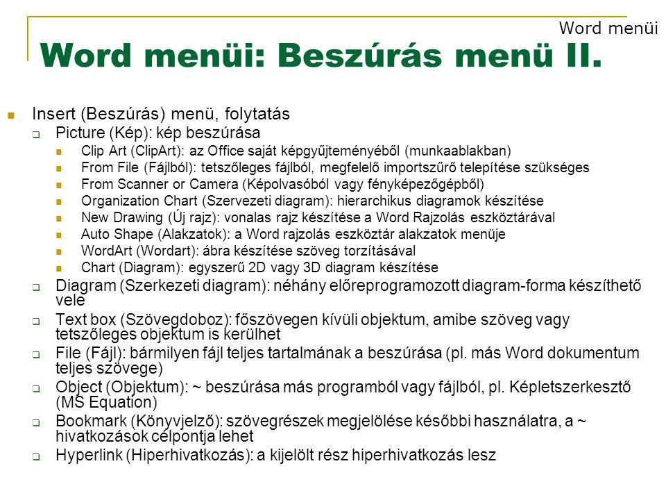 Word menüi: Beszúrás menü II.