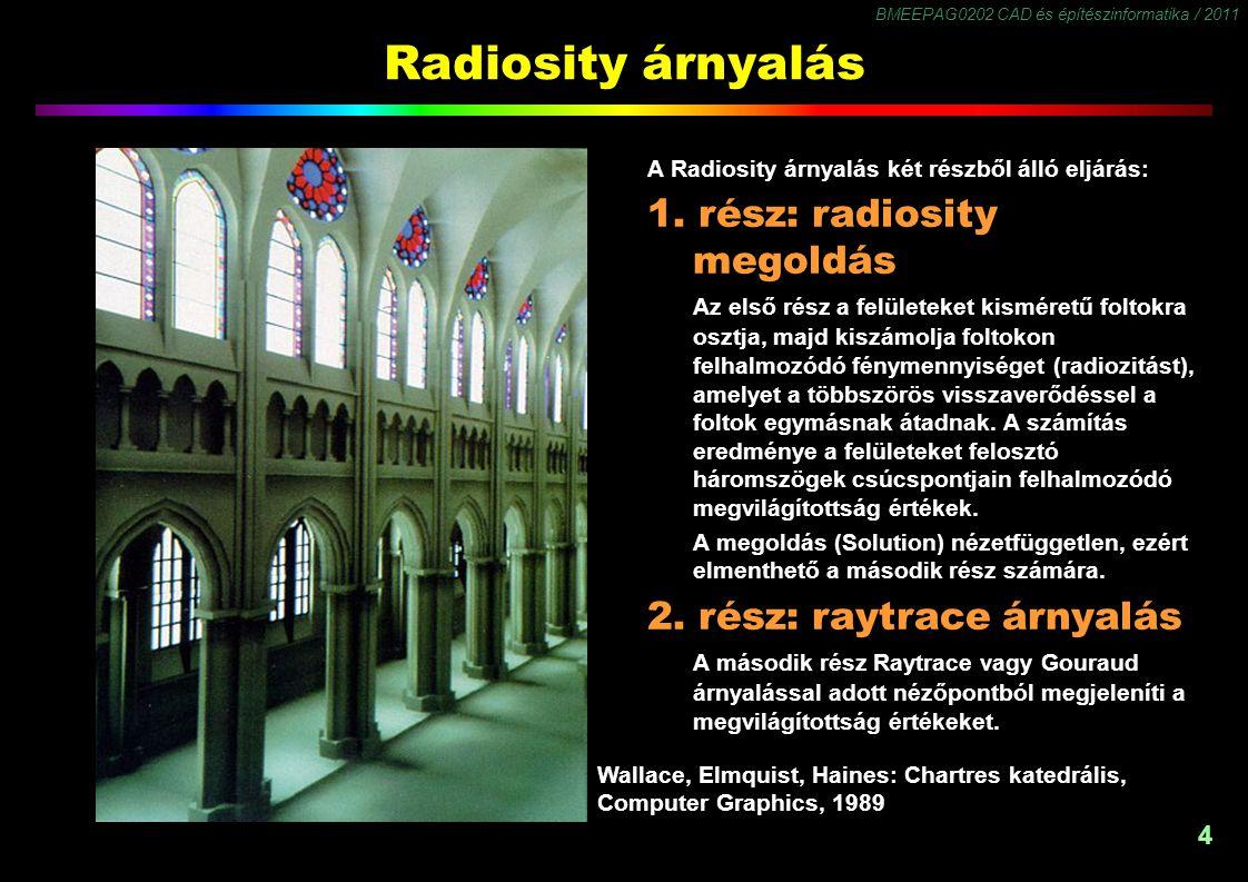 Radiosity árnyalás A radiosity árnyalás képességei a következők: