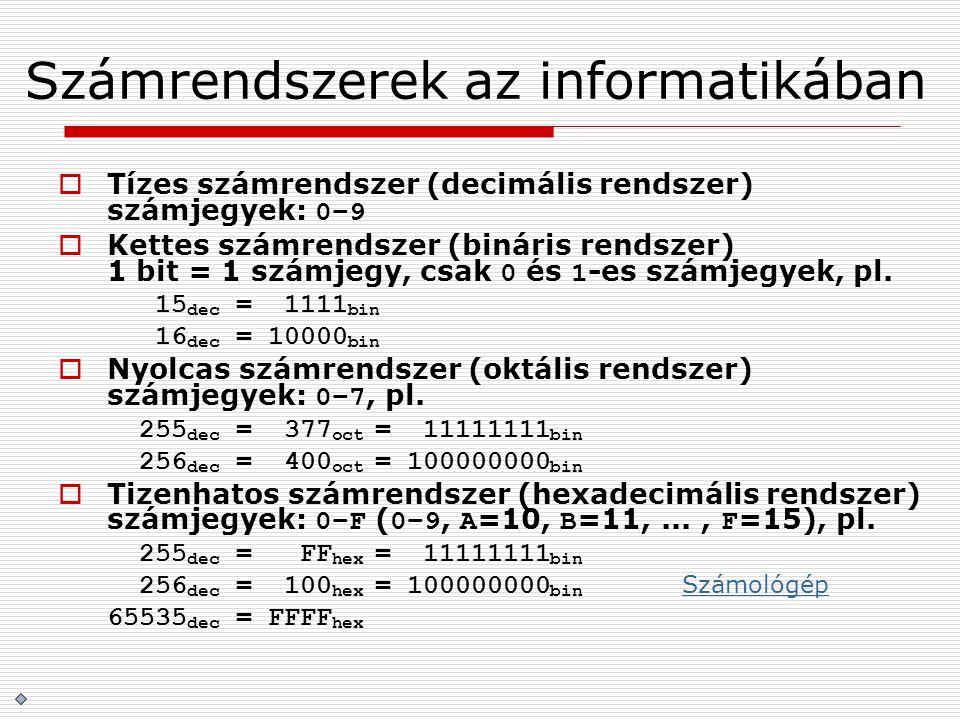 Számrendszerek az informatikában