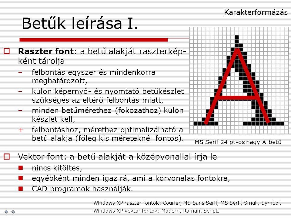 MS Serif 24 pt-os nagy A betű