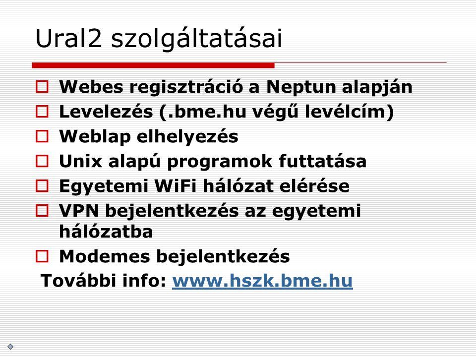 Ural2 szolgáltatásai Webes regisztráció a Neptun alapján