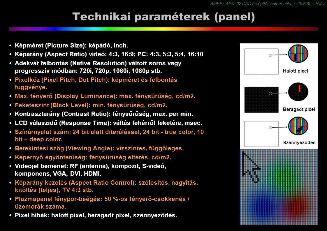 Technikai paraméterek (panel)