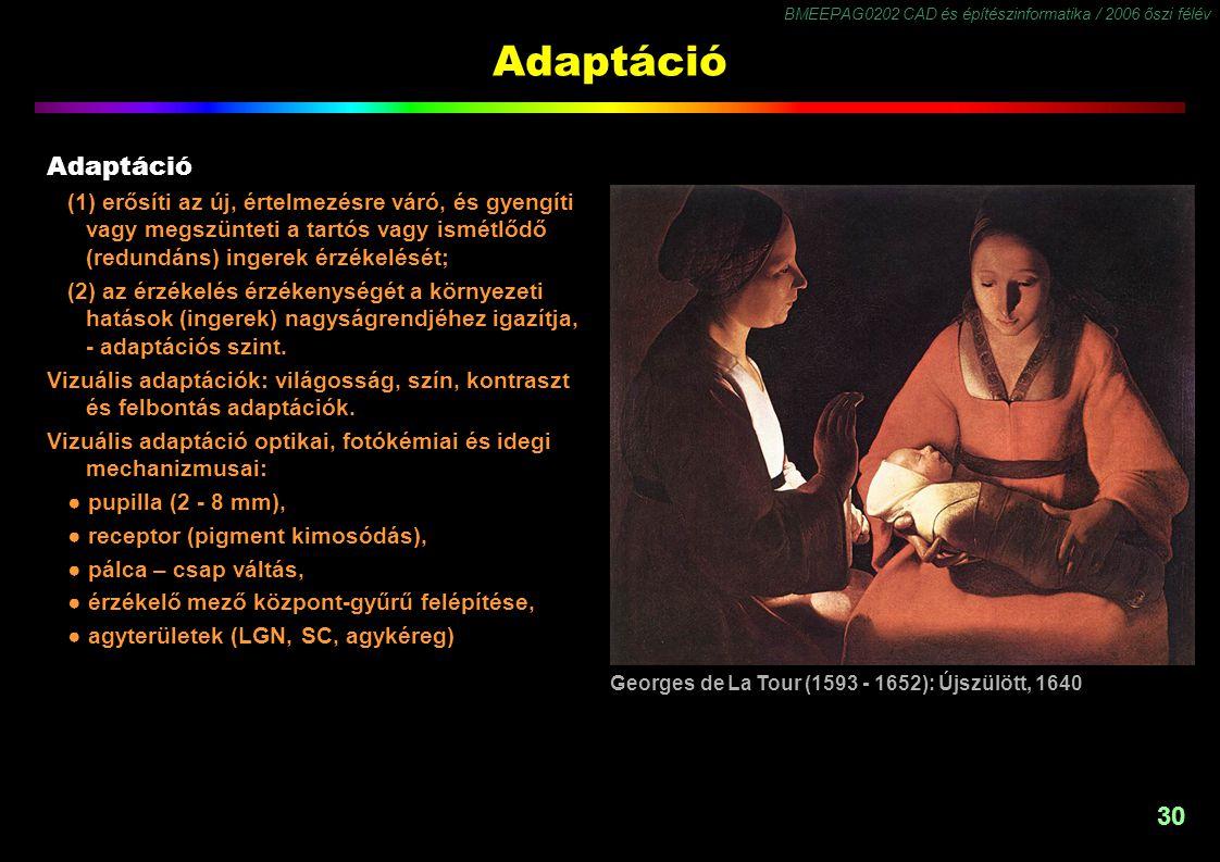 Adaptáció Adaptáció. (1) erősíti az új, értelmezésre váró, és gyengíti vagy megszünteti a tartós vagy ismétlődő (redundáns) ingerek érzékelését;