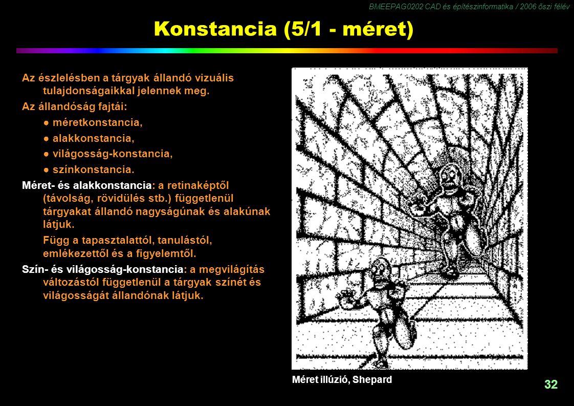 Konstancia (5/1 - méret) Az észlelésben a tárgyak állandó vizuális tulajdonságaikkal jelennek meg. Az állandóság fajtái: