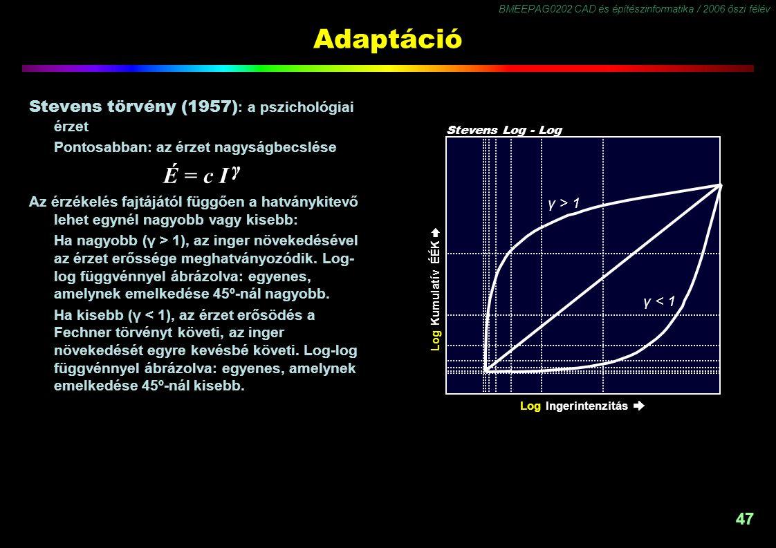 Adaptáció É = c I γ Stevens törvény (1957): a pszichológiai érzet