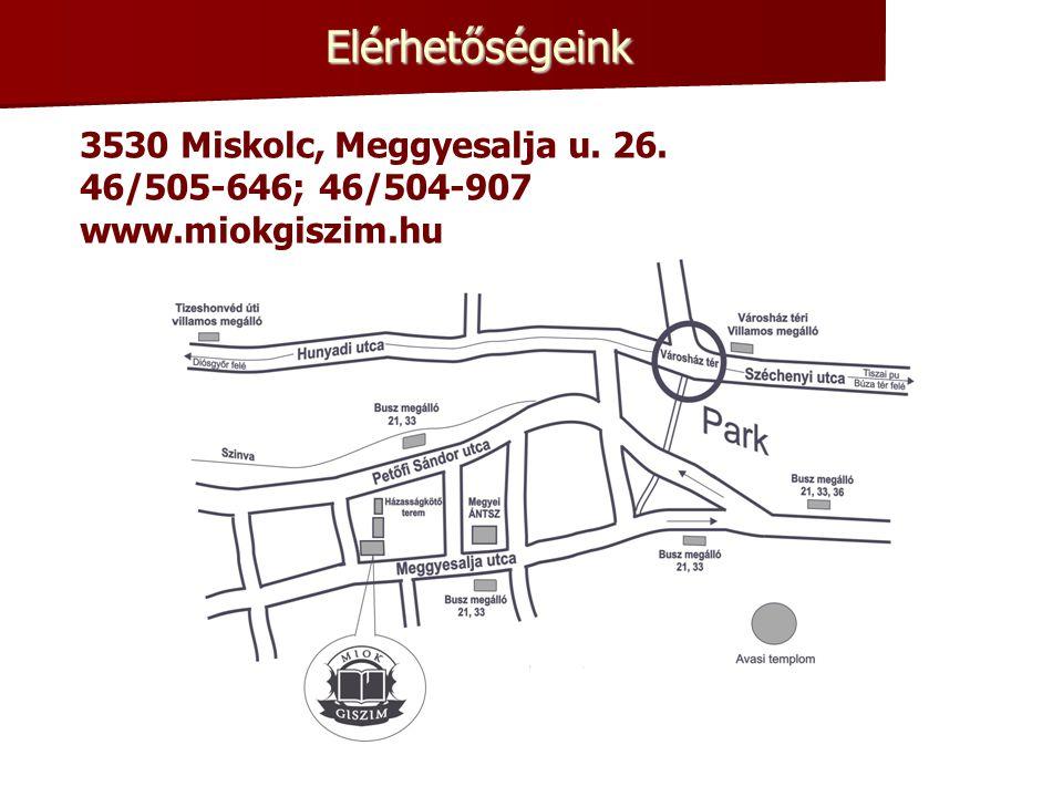 Elérhetőségeink 3530 Miskolc, Meggyesalja u. 26.