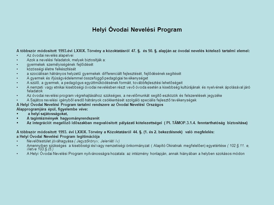 Helyi Óvodai Nevelési Program