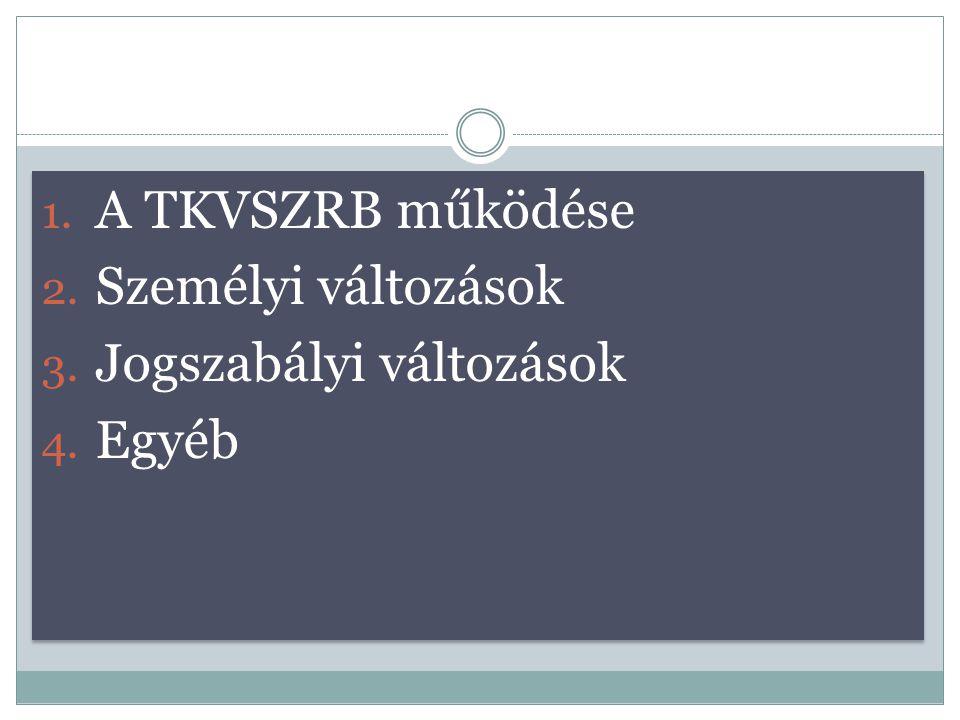 A TKVSZRB működése Személyi változások Jogszabályi változások Egyéb