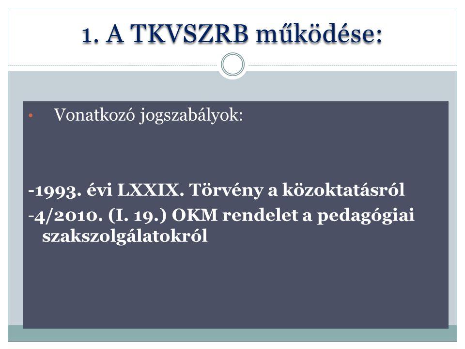 1. A TKVSZRB működése: Vonatkozó jogszabályok: