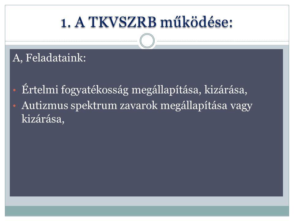 1. A TKVSZRB működése: A, Feladataink: