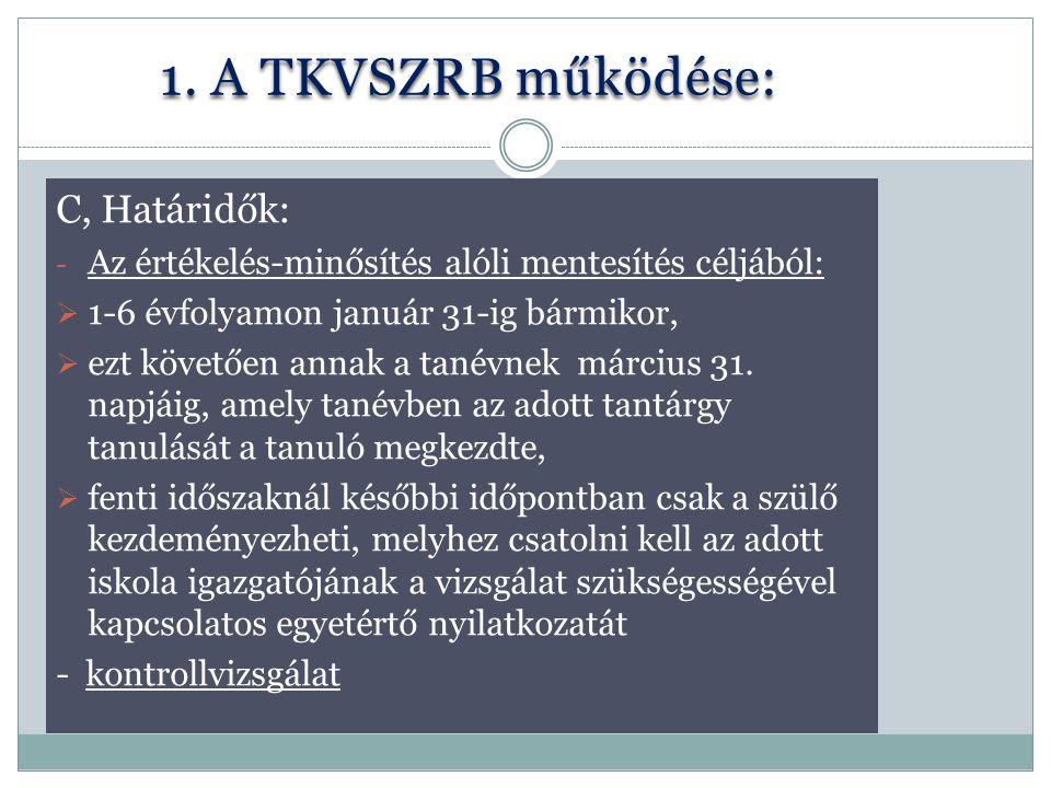 1. A TKVSZRB működése: C, Határidők: