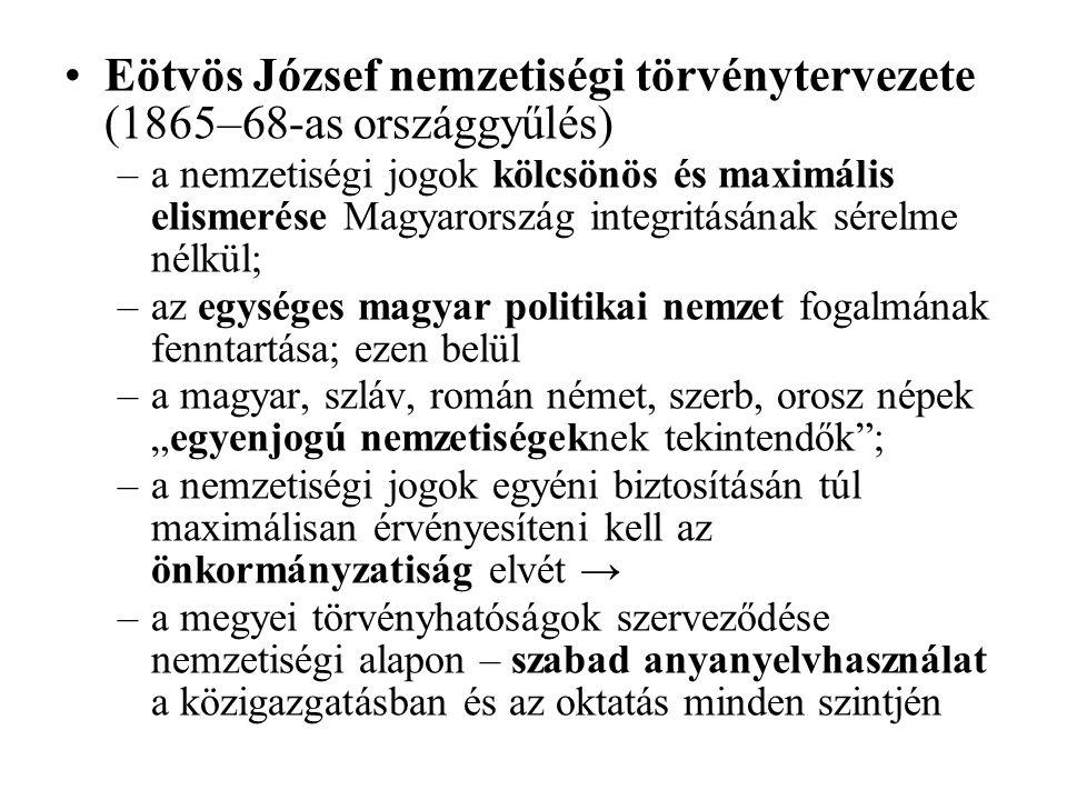 Eötvös József nemzetiségi törvénytervezete (1865–68-as országgyűlés)