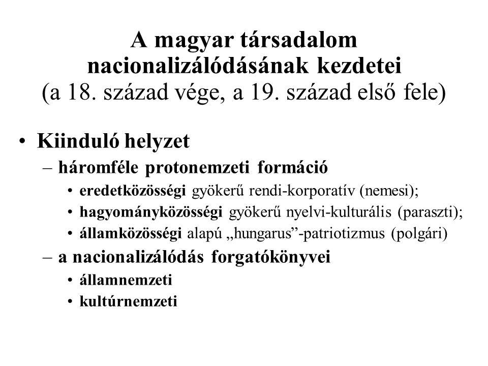 A magyar társadalom nacionalizálódásának kezdetei (a 18