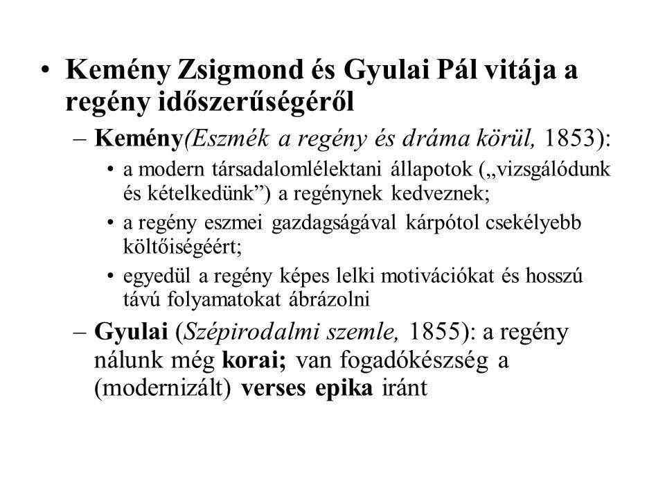Kemény Zsigmond és Gyulai Pál vitája a regény időszerűségéről