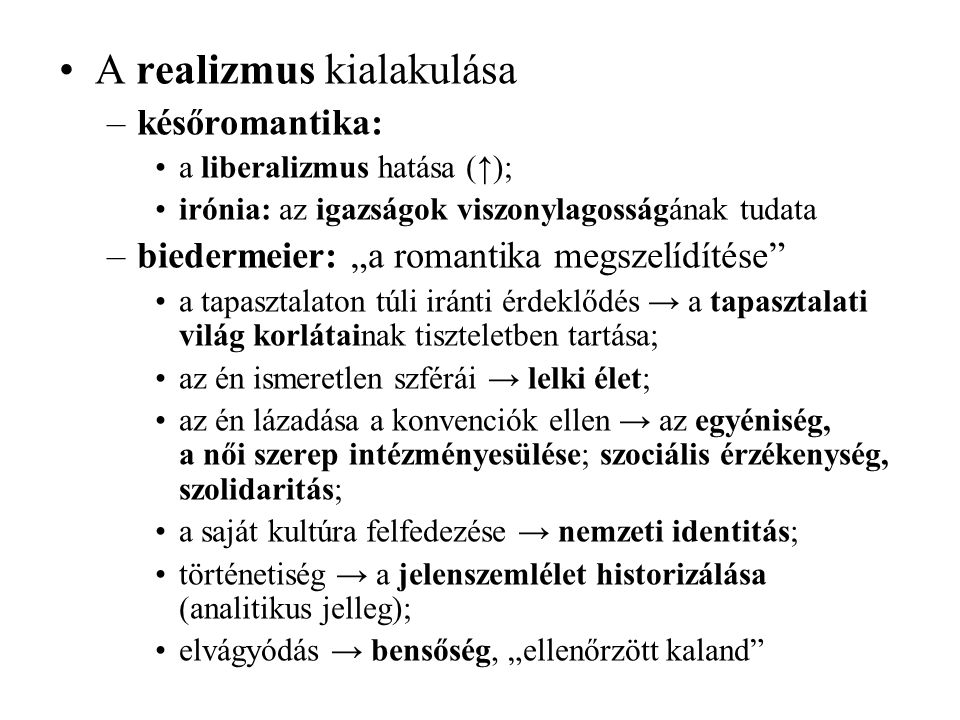 A realizmus kialakulása
