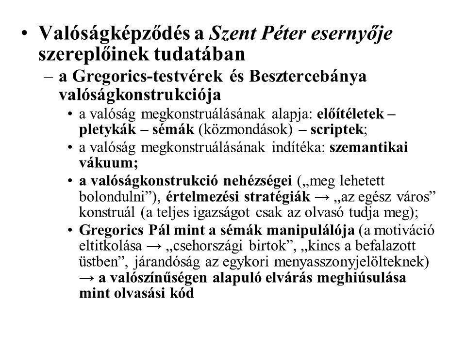 Valóságképződés a Szent Péter esernyője szereplőinek tudatában