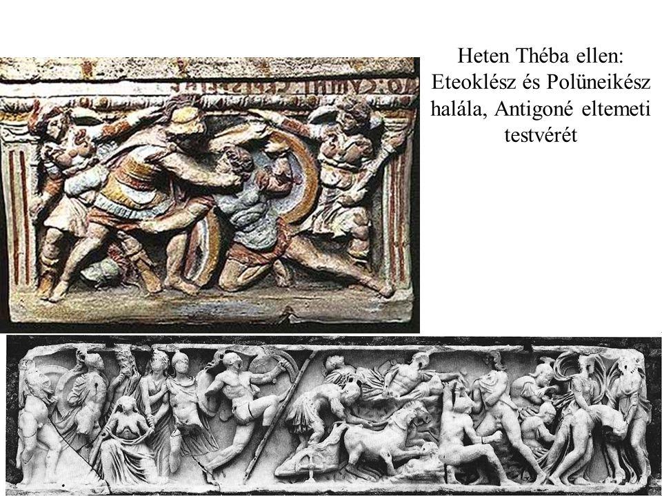 Heten Théba ellen: Eteoklész és Polüneikész halála, Antigoné eltemeti testvérét