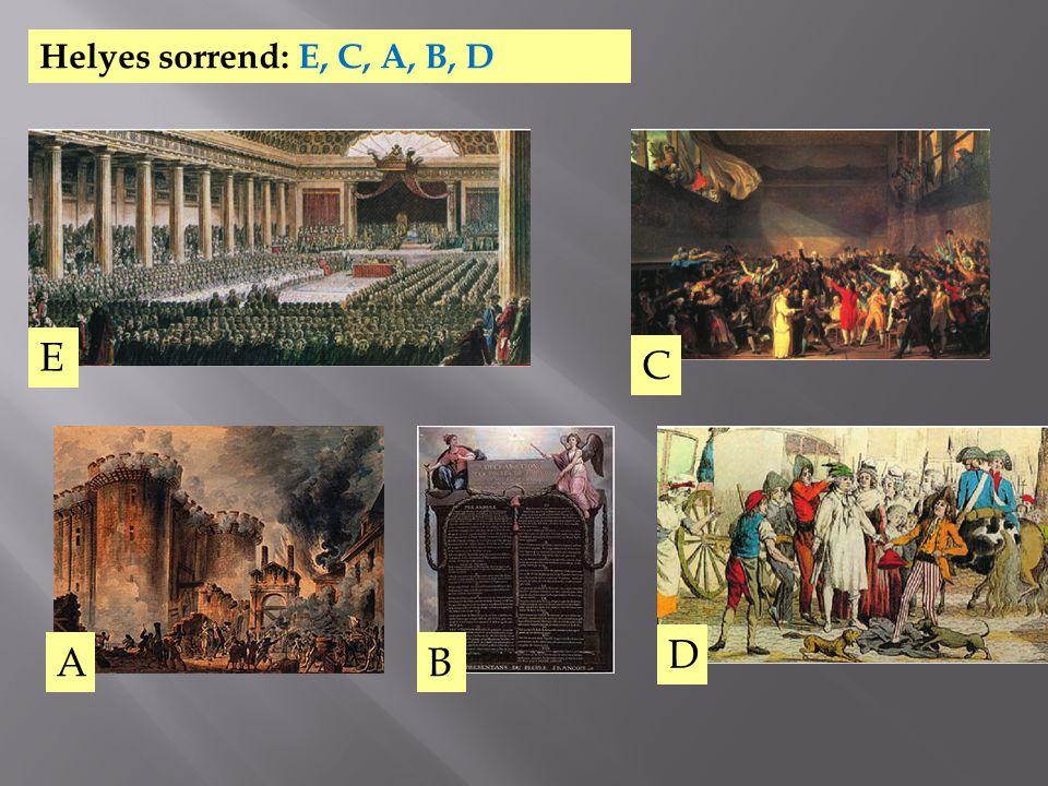 Helyes sorrend: E, C, A, B, D E C A B D