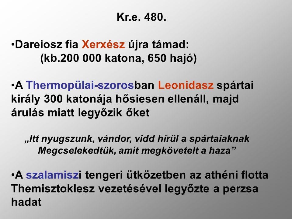 Dareiosz fia Xerxész újra támad: (kb.200 000 katona, 650 hajó)