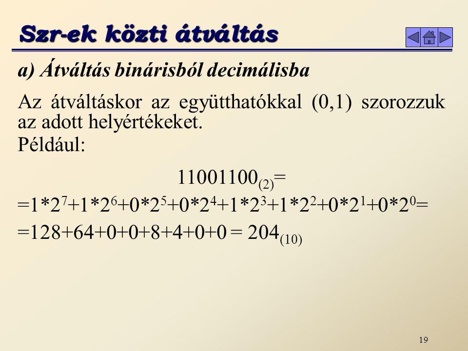 Szr-ek közti átváltás a) Átváltás binárisból decimálisba