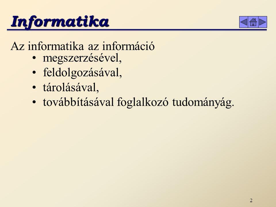 Informatika Az informatika az információ megszerzésével,