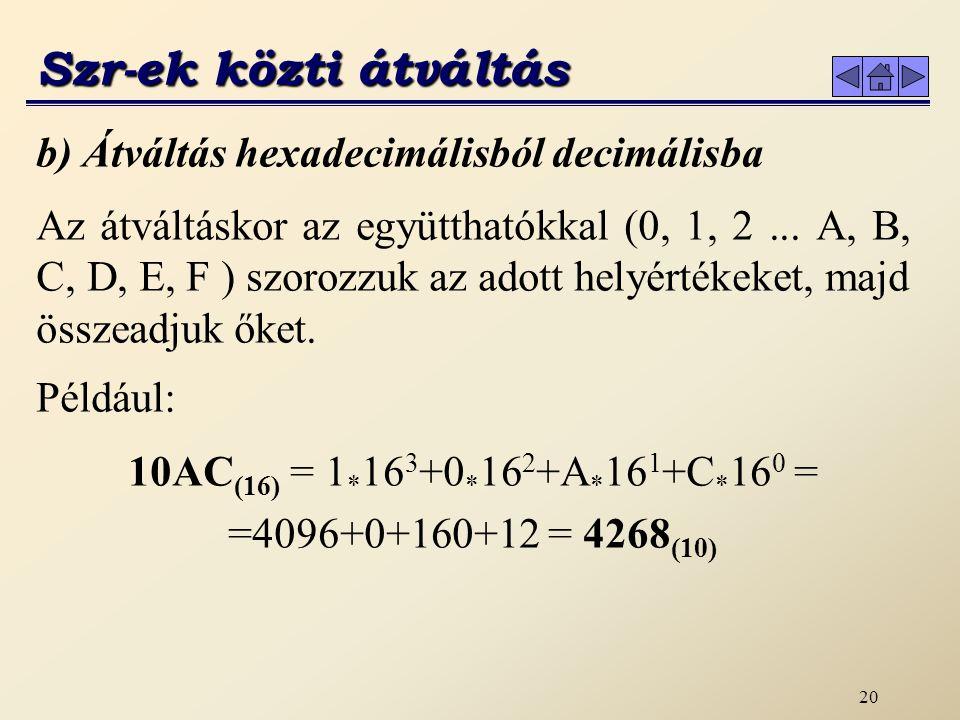 10AC(16) = 1*163+0*162+A*161+C*160 = =4096+0+160+12 = 4268(10)
