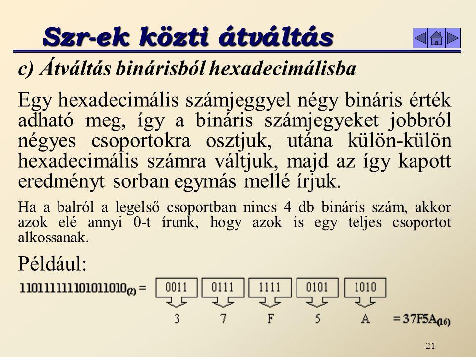 Szr-ek közti átváltás c) Átváltás binárisból hexadecimálisba