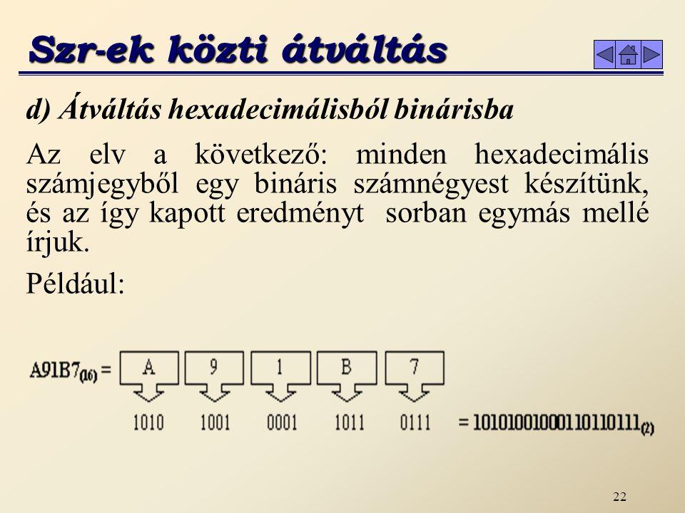 Szr-ek közti átváltás d) Átváltás hexadecimálisból binárisba