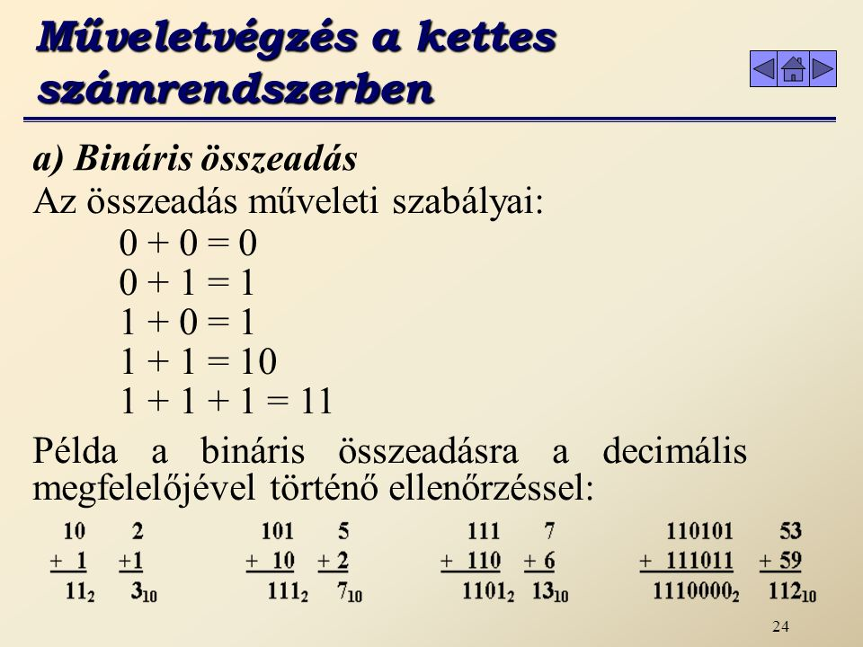 Műveletvégzés a kettes számrendszerben
