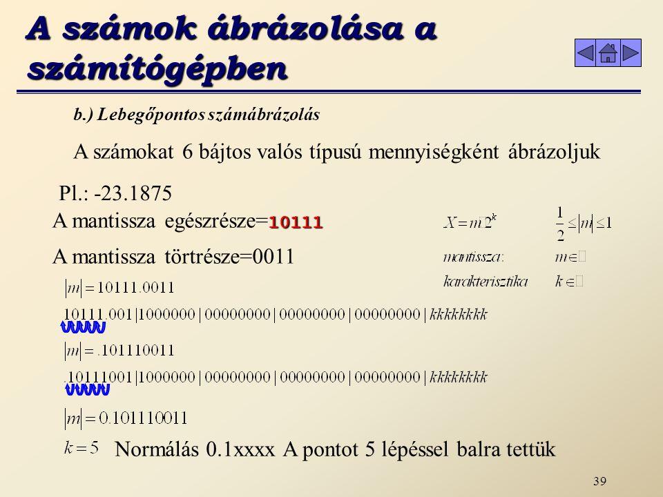 A számok ábrázolása a számítógépben