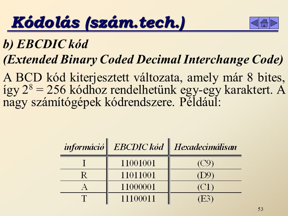 Kódolás (szám.tech.) b) EBCDIC kód (Extended Binary Coded Decimal Interchange Code)