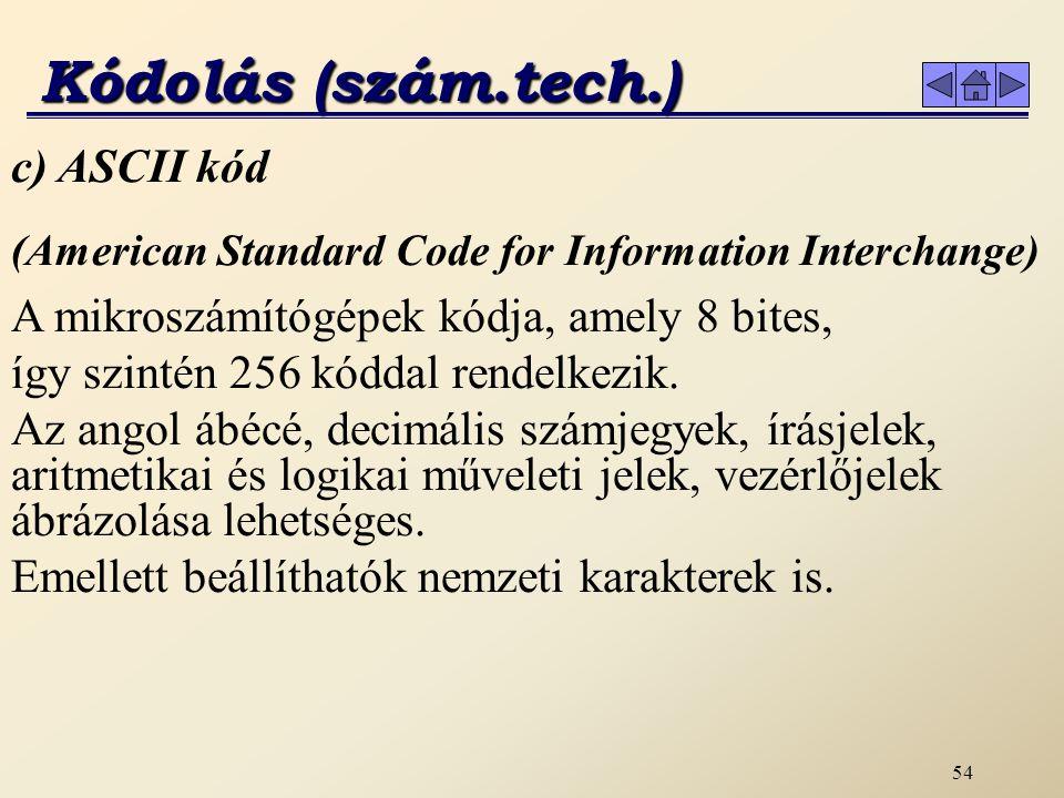 Kódolás (szám.tech.) c) ASCII kód