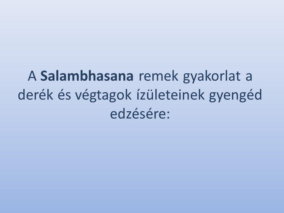 A Salambhasana remek gyakorlat a derék és végtagok ízületeinek gyengéd edzésére: