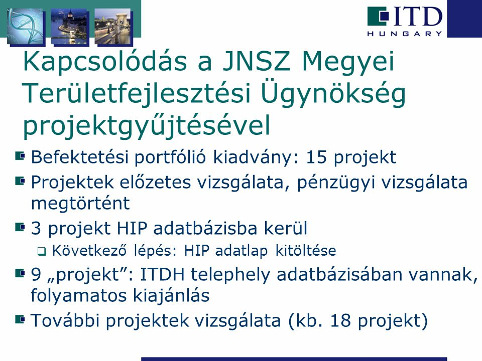 Kapcsolódás a JNSZ Megyei Területfejlesztési Ügynökség projektgyűjtésével