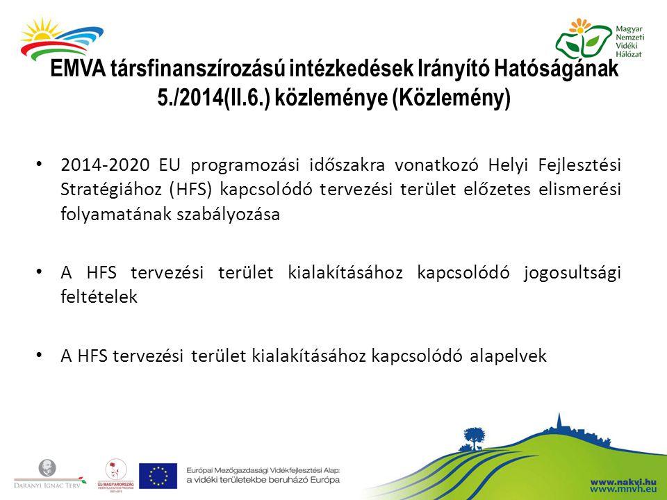 EMVA társfinanszírozású intézkedések Irányító Hatóságának 5. /2014(II