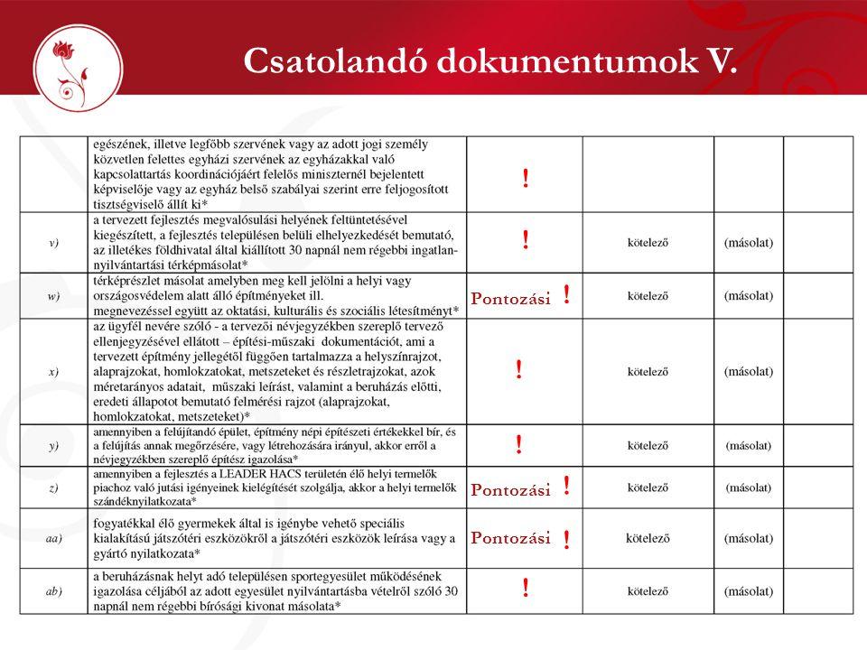 Csatolandó dokumentumok V.