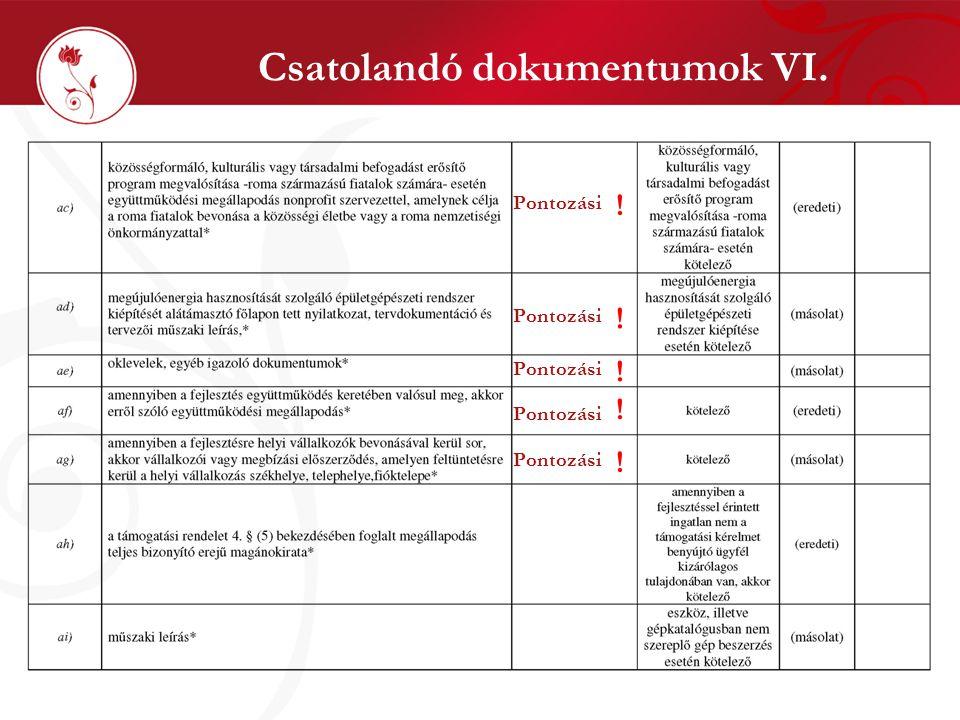 Csatolandó dokumentumok VI.