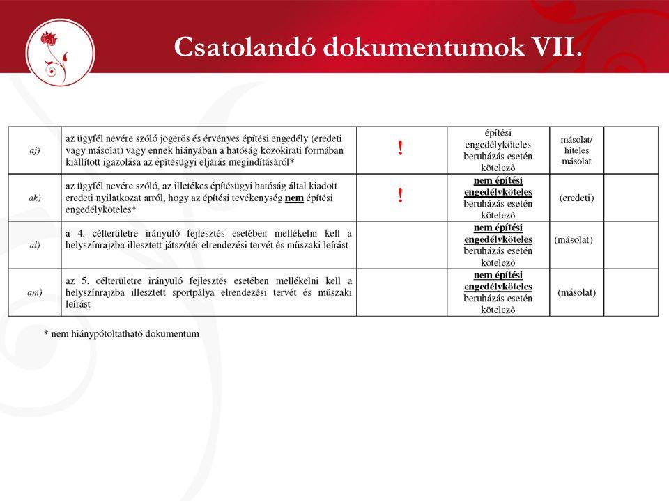 Csatolandó dokumentumok VII.