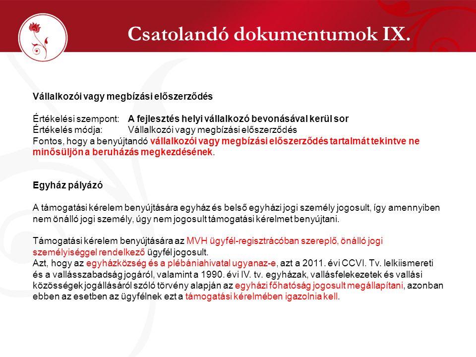 Csatolandó dokumentumok IX.